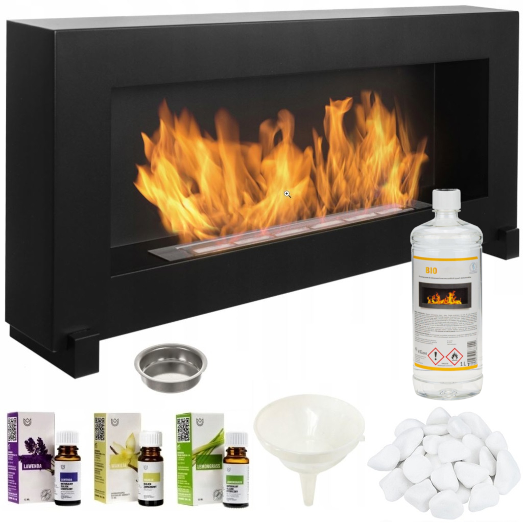 Bio Ethanol Fireplace Freestanding 90x40 Design Eco Fire Burner Accessories Ebay