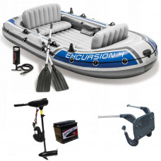 INFLATABLE BOAT DINGHY 32lbs + BATTERY LIGHT OUTBOARD ENGINE FISHING 4 PERSON