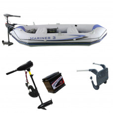 INFLATABLE BOAT DINGHY 32lbs + BATTERY LIGHT OUTBOARD ENGINE MOTOR FISHING