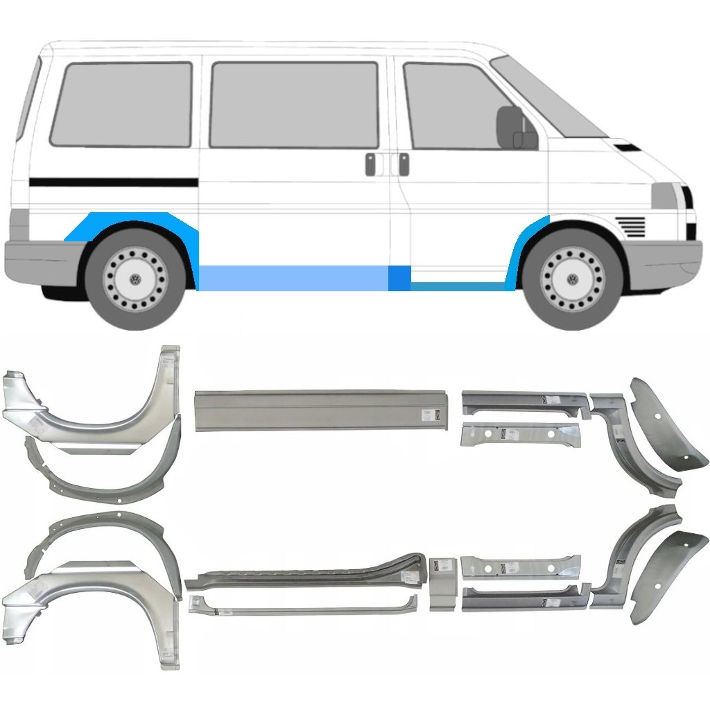 VW T4 1990- SWB/MWB 16x REPAIR PANEL SILL WING / SET